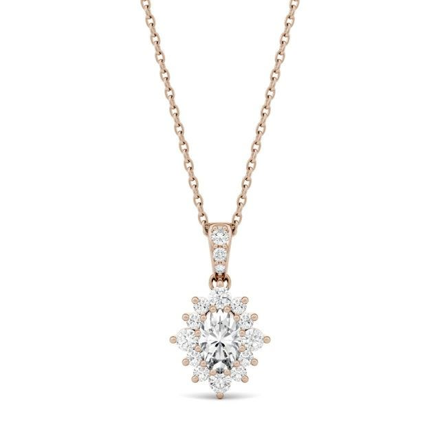 0.71 CTW Oval Forever One Moissanite Halo Necklace in 14K Rose Gold