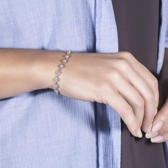 4.14 CTW Round Forever One Moissanite Link Bracelet in 14K White Gold
