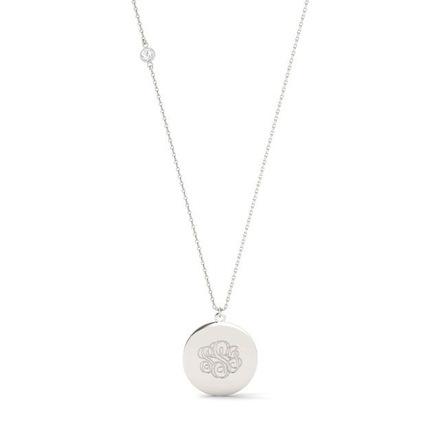 Custom Monogram Necklace in Sterling Silver with Forever One Moissanite Accent