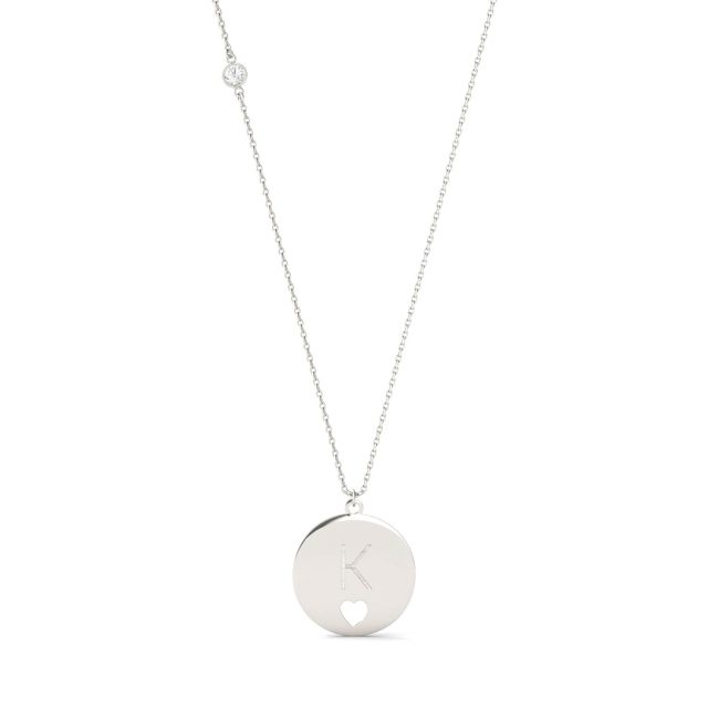 Personalized Block Initial Heart Necklace in Sterling Silver with Forever One Moissanite Accent