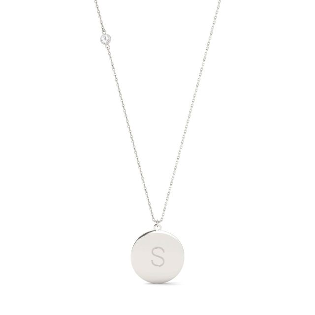 Personalized Block Initial Necklace in Sterling Silver with Forever One Moissanite Accent