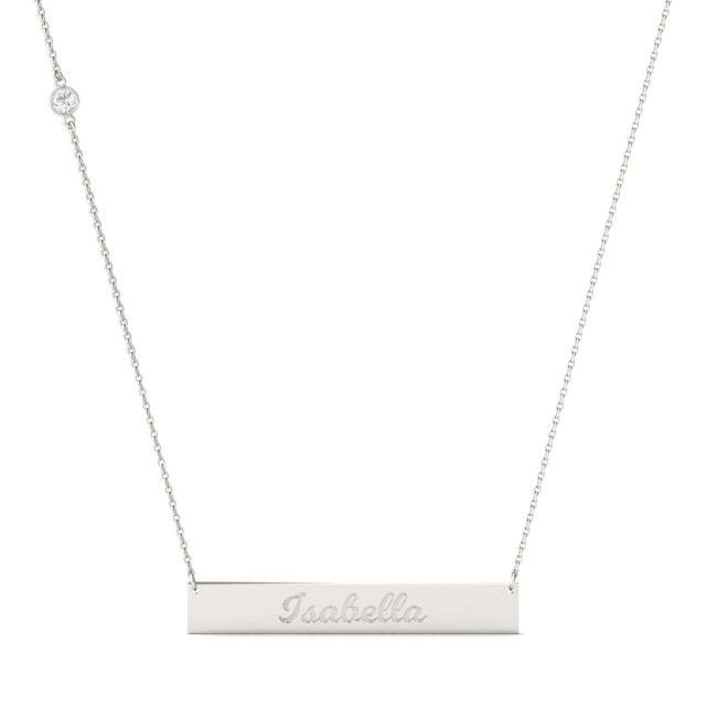 Personalized Script Name Bar Necklace in Sterling Silver with Forever One Moissanite Accent