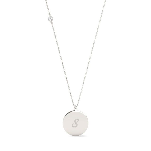 Personalized Script Initial Necklace in Sterling Silver with Forever One Moissanite Accent