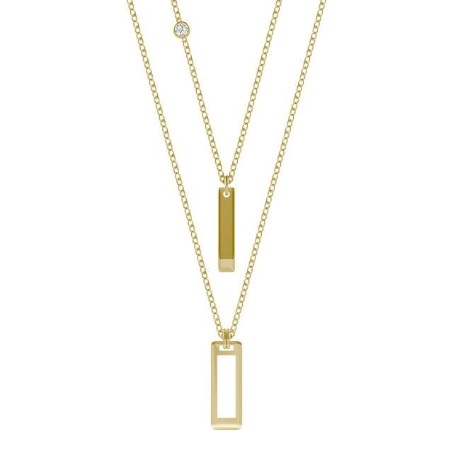 Ouro Edition Layered Rectangle Drop Necklace in 14K Yellow Gold