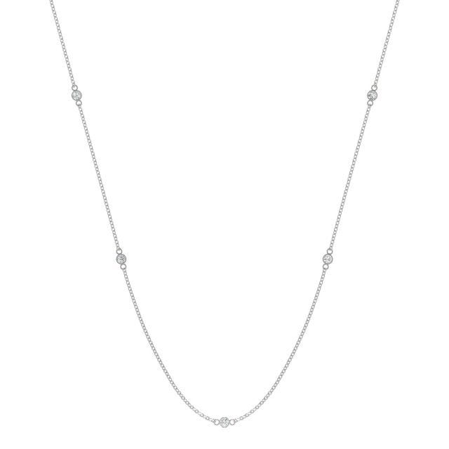 0.17 CTW Round Forever One Moissanite Classic Station Necklace in 14K White Gold