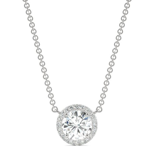0.91 CTW Round Forever One Moissanite Cluster Halo Signature Necklace in 14K White Gold
