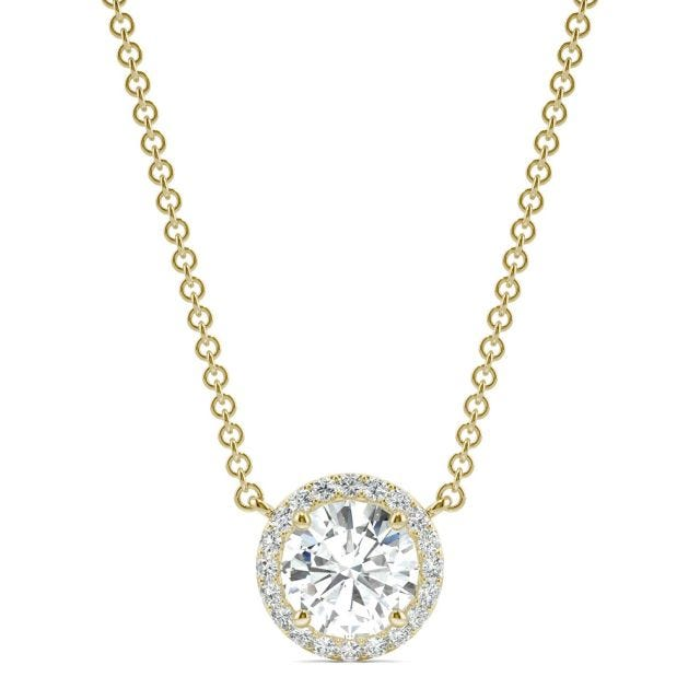 0.91 CTW Round Forever One Moissanite Cluster Halo Signature Necklace in 14K Yellow Gold