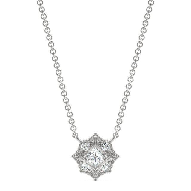 0.24 CTW Square Forever One Moissanite Signature Milgrain Necklace in 14K White Gold