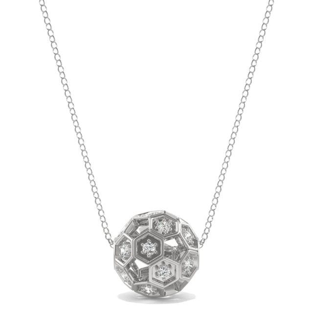 0.10 CTW Round Forever One Moissanite Brilliant Player Small Soccer Necklace in Sterling Silver