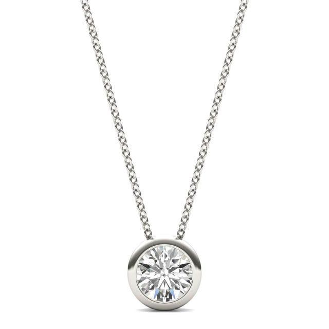 1/2 CTW Round Caydia Lab Grown Diamond Bezel Set Solitaire Necklace Platinum