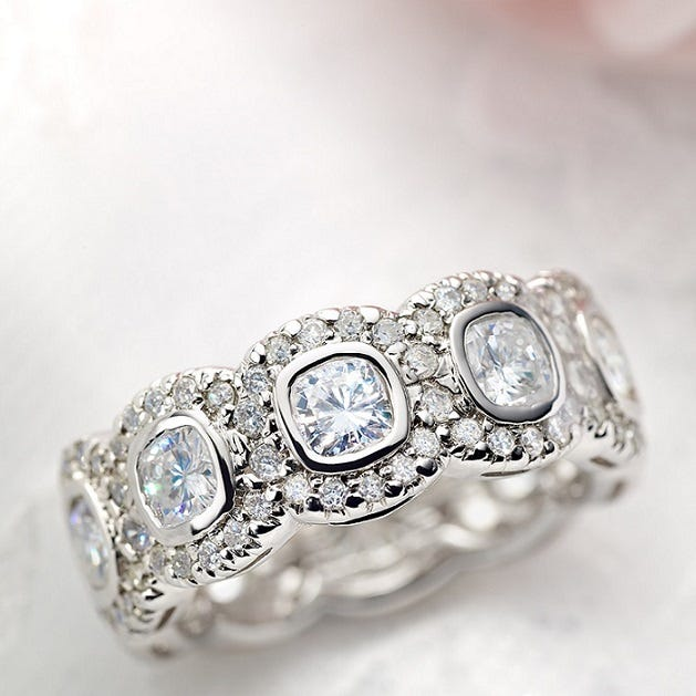 The popular Britta ring by Venazia is now available in Forever One™. Moissanite.com, from $2,699