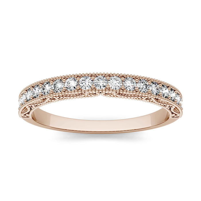 forever one 028ctw round colorless moissanite milgrain band with detailed borders in 14k rose gold