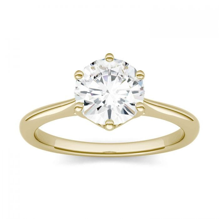 14k yellow gold Moissanite solitaire engagement ring