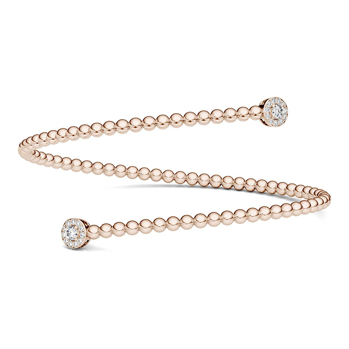 forever one 020ctw round colorless moissanite bypass cuff bracelet in 14k rose gold