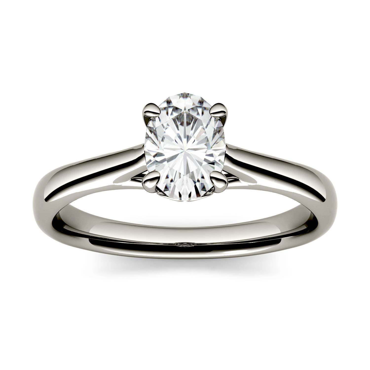 Four Prong Solitaire Engagement Ring in 14K White Gold, Size: 6, 2.10CTW Oval Forever One - Near-Colorless Moissanite Charles & Colvard