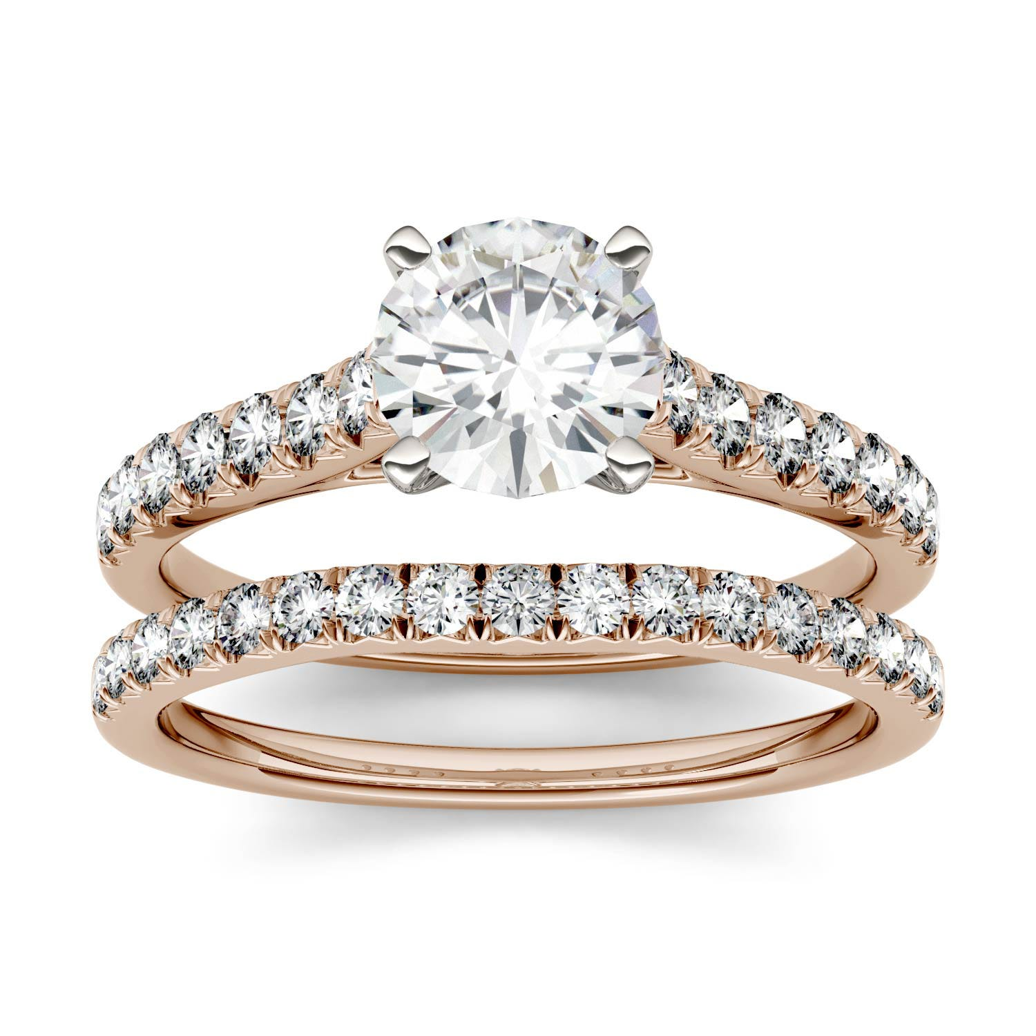 Solitaire with Side Accents Bridal Set Engagement Ring in 14K Rose Gold, Size: 8, 1.6CTW Round Forever One - Near-Colorless Moissanite Charles & Colvard
