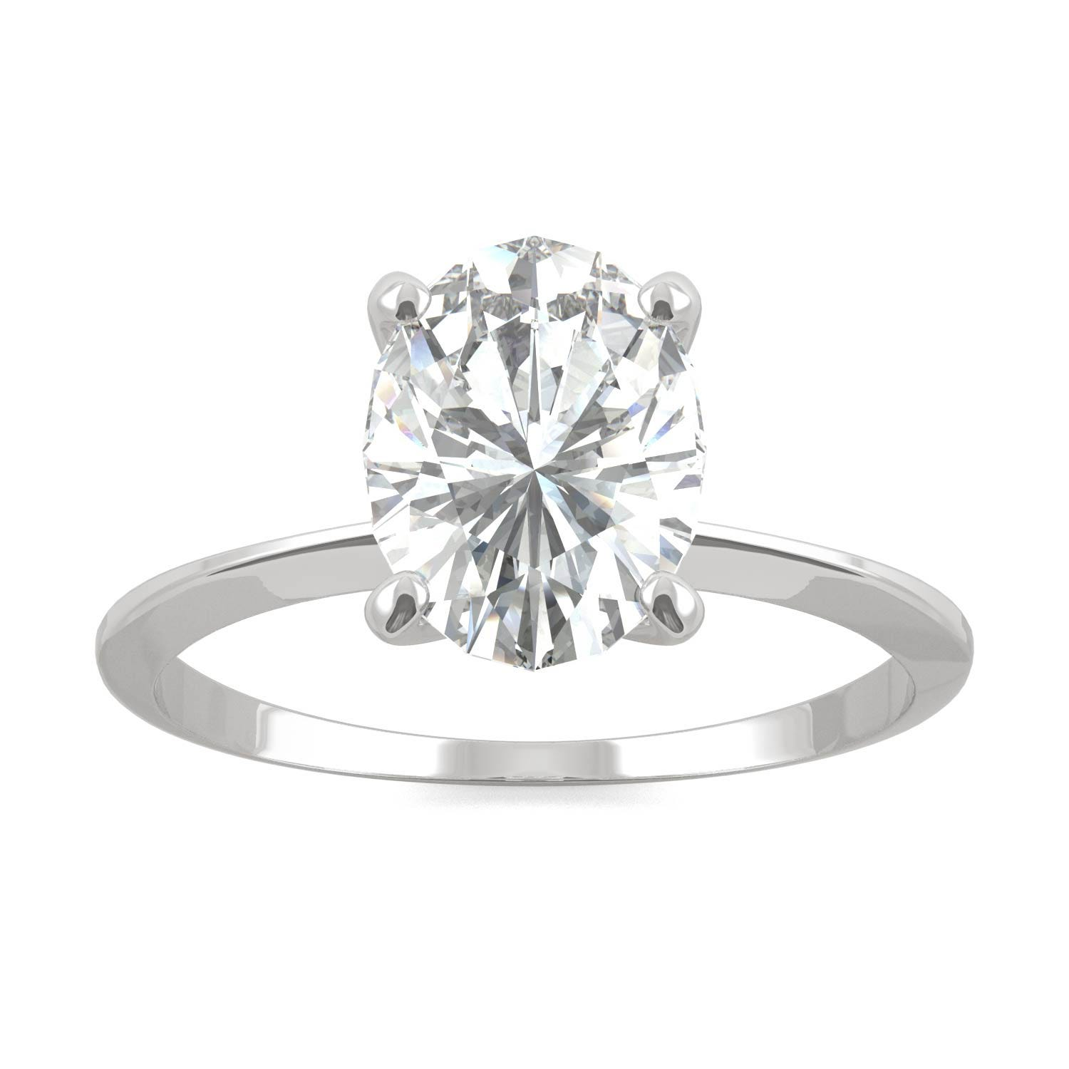 Classic Solitaire Engagement Ring in 14K White Gold, Size: 6, 2.10CTW Oval Forever One - Near-Colorless Moissanite Charles & Colvard