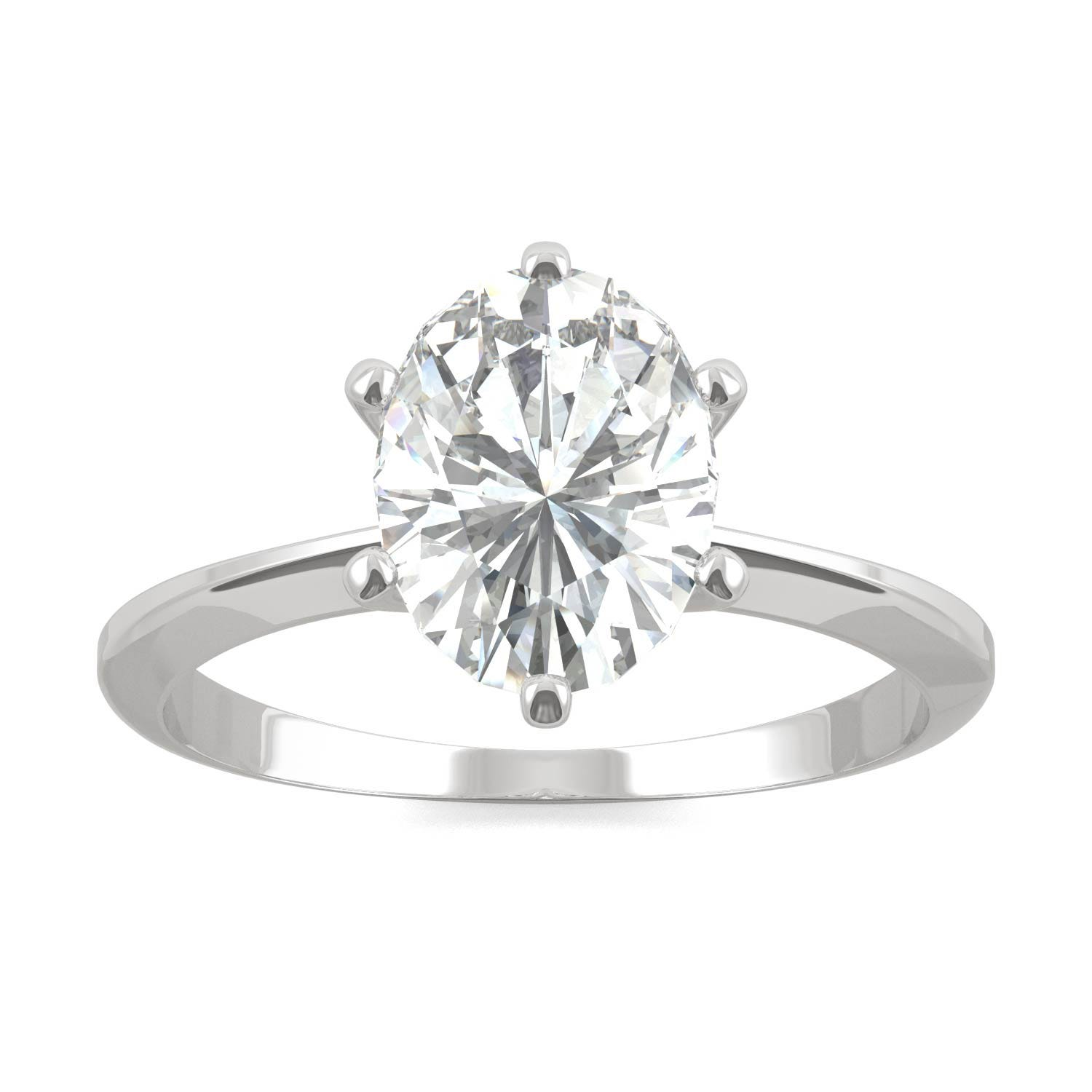 Six Prong Solitaire Engagement Ring in 14K White Gold, Size: 6, 2.10CTW Oval Forever One - Near-Colorless Moissanite Charles & Colvard