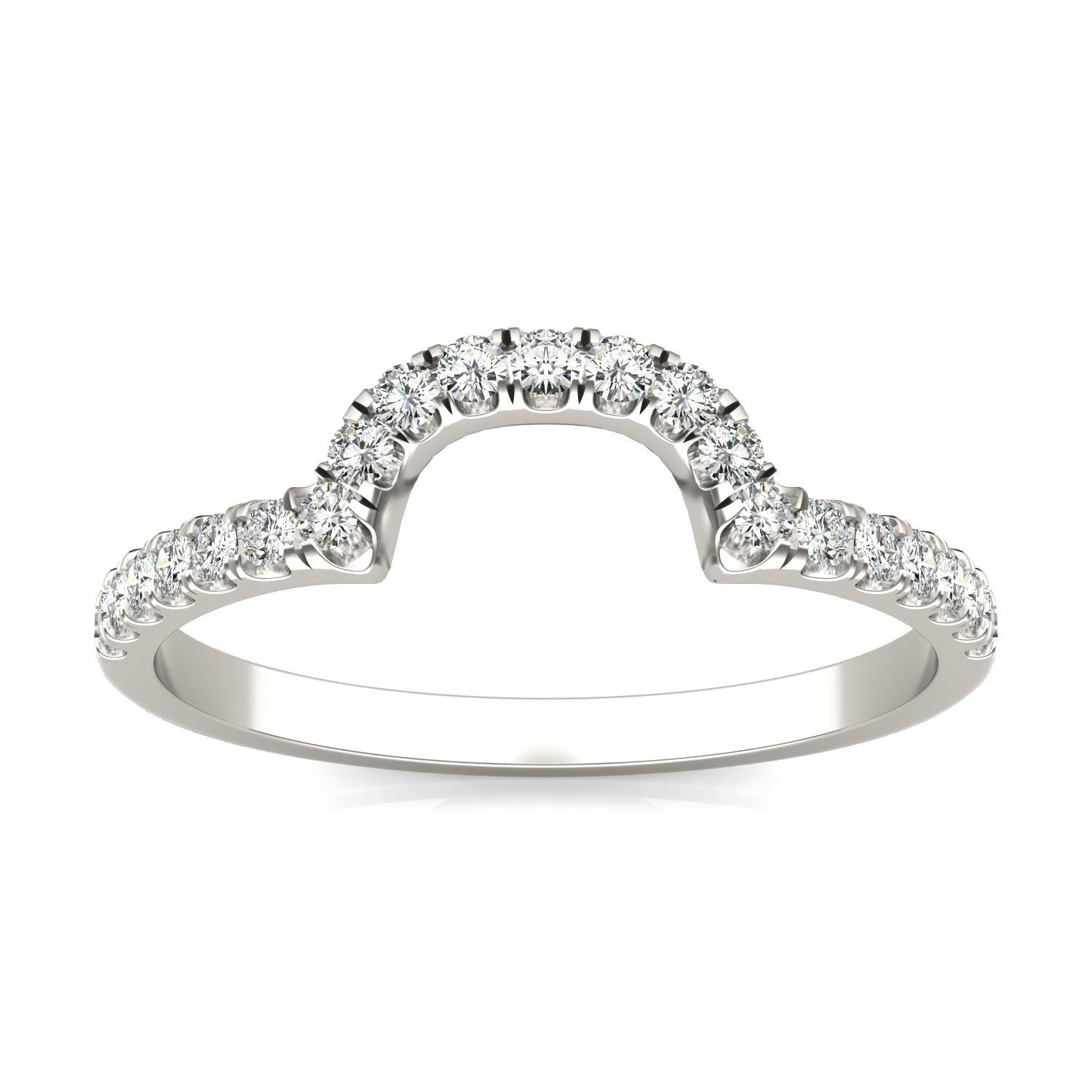 Contoured Band Wedding Ring in 14K White Gold, Size: 5, 0.21 CTW DEW Round Forever One Moissanite Accent Stones Charles & Colvard