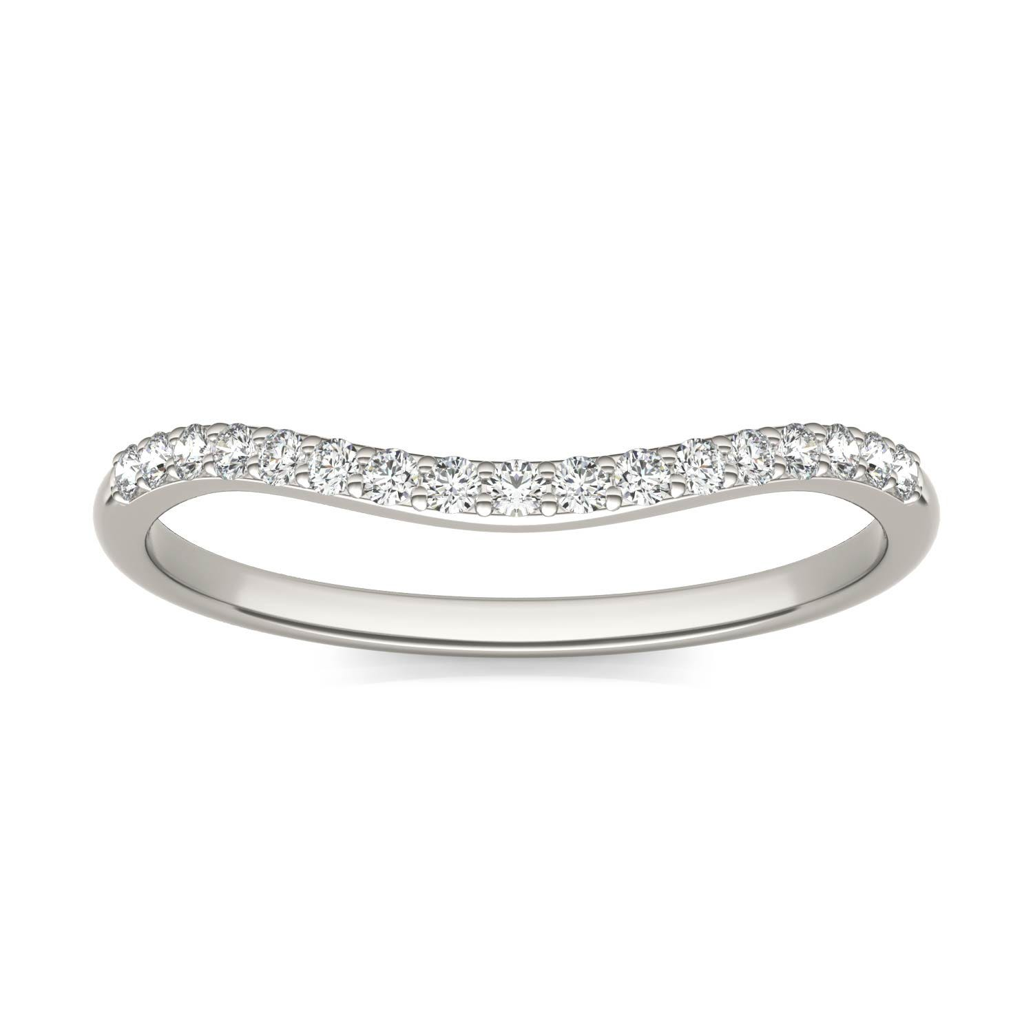 Signature 8mm Round Matching Band Wedding Ring in 18K White Gold, Size: 7.5, 1/6 CTW Charles & Colvard
