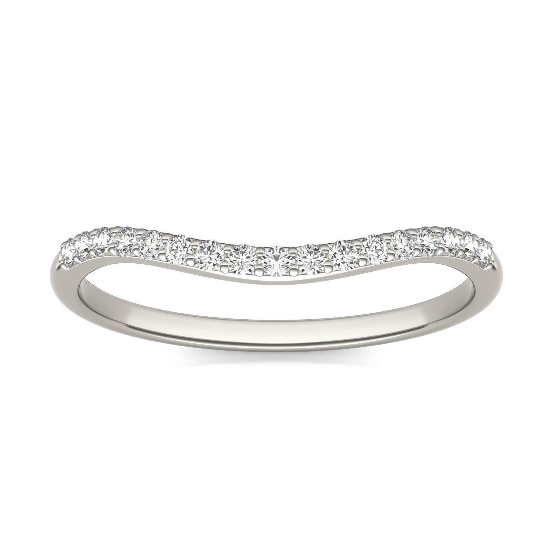 Signature 8mm Round Matching Band Wedding Ring White in Platinum, Size: 8.5, 1/6 CTW Charles & Colvard