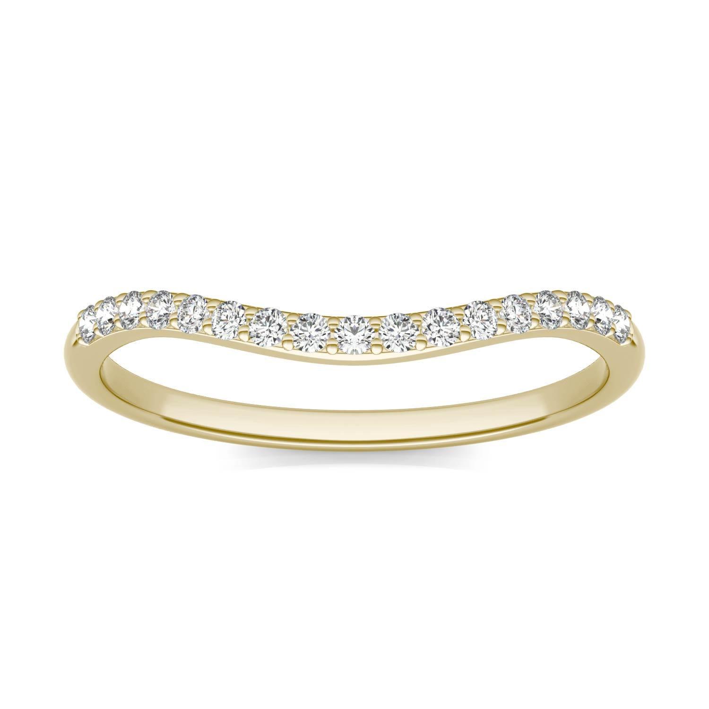 Signature 8mm Round Matching Band Wedding Ring in 18K Yellow Gold, 1/6 CTW Charles & Colvard