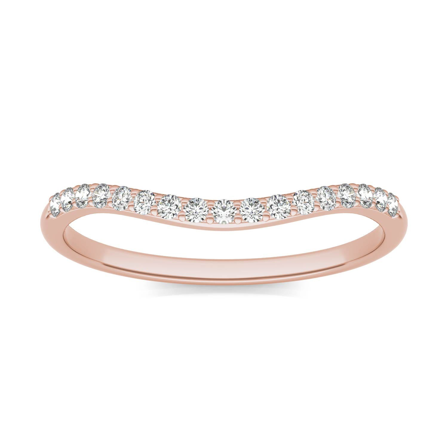 Signature 8mm Round Matching Band Wedding Ring in 18K Rose Gold, Size: 8.5, 1/6 CTW Charles & Colvard