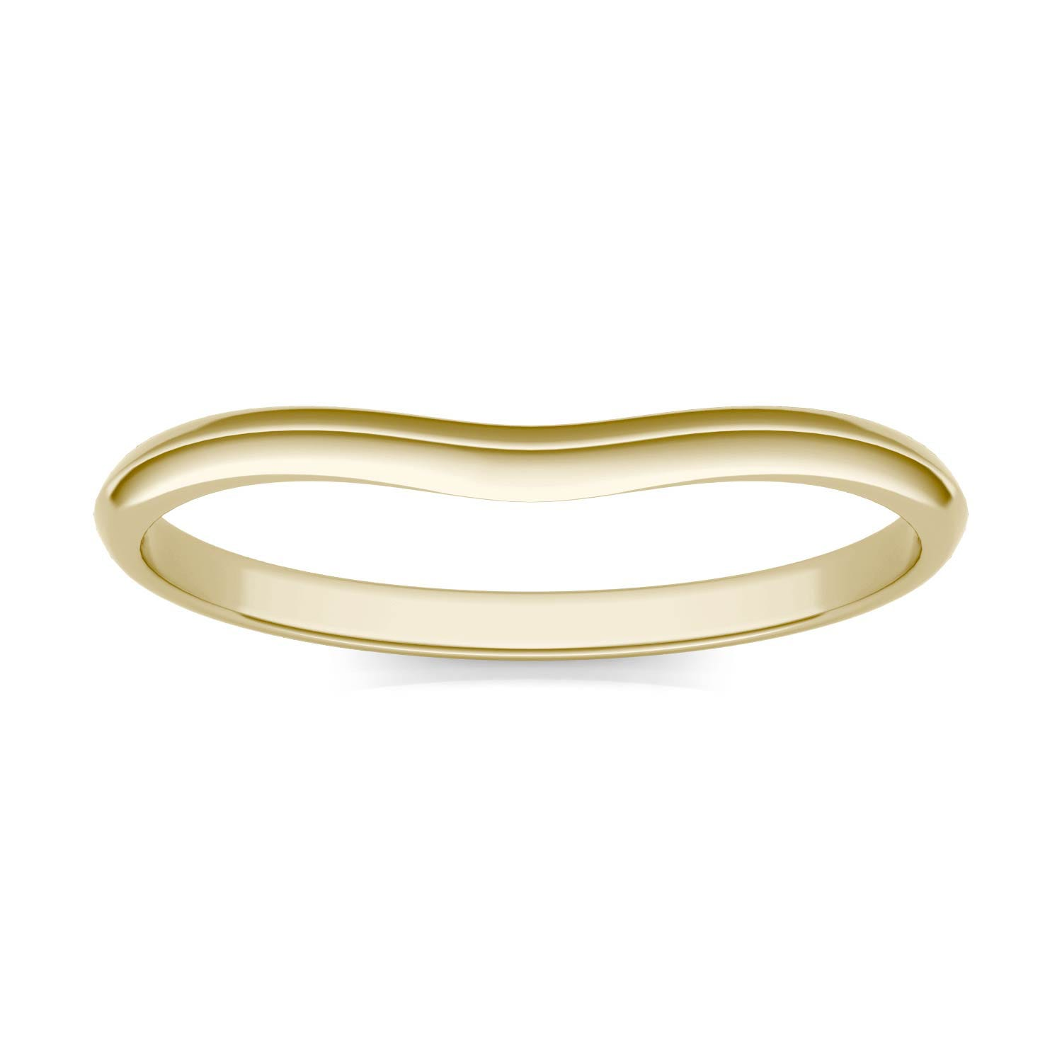 Signature Curved Plain 6mm Cushion Matching Band Wedding Ring in 18K Yellow Gold, Size: 7 Charles & Colvard