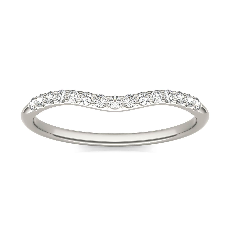 Signature 8mm Round Halo Matching Band Wedding Ring White in Platinum, Size: 7, 1/6 CTW Charles & Colvard
