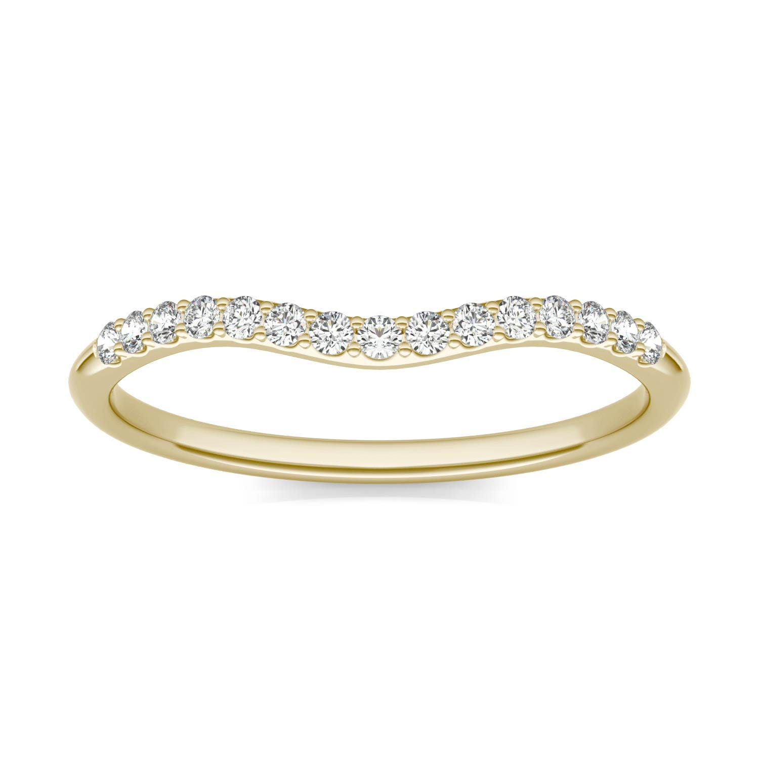 Signature 8mm Round Halo Matching Band Wedding Ring in 18K Yellow Gold, 1/6 CTW Charles & Colvard