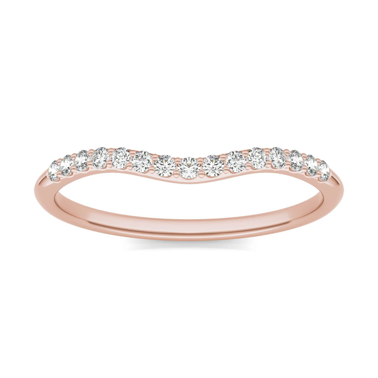 Signature 8mm Round Halo Matching Band Wedding Ring in 18K Rose Gold, 1/6 CTW Charles & Colvard