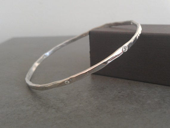 Sterling Silver & Moissanite Hammered Rustic Bangle, alchemyhouse on Etsy, from $297.21