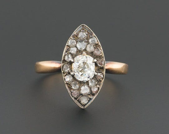 Late Victorian Diamond Ring, circa 1870-1900. TrademarkAntiques on Etsy, $925