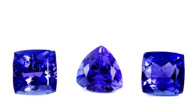 Three tanzanite gemstones
