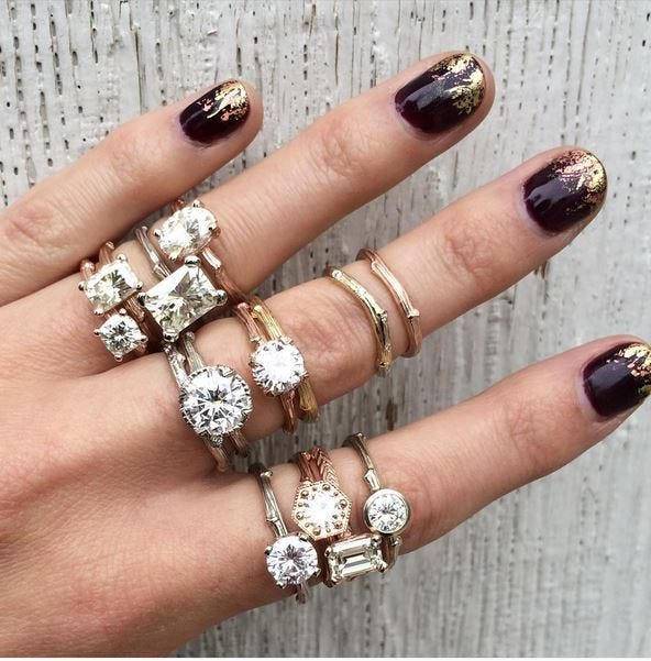 Kristin Coffin shows off her rings and her #paintboxmani on Instagram