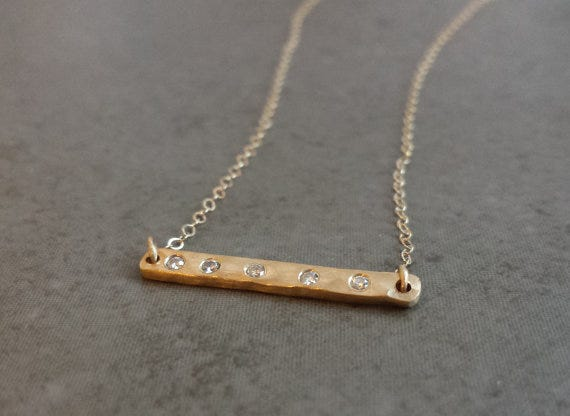 Hammered Bar Necklace, Alchemy House Jewellery, $375