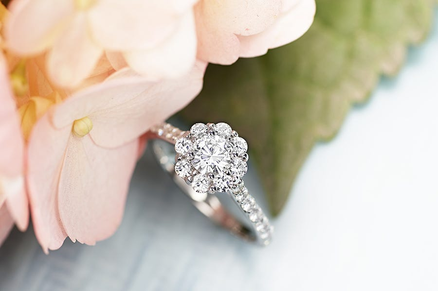 The Fazio cluster engagement ring from Moissanite.com