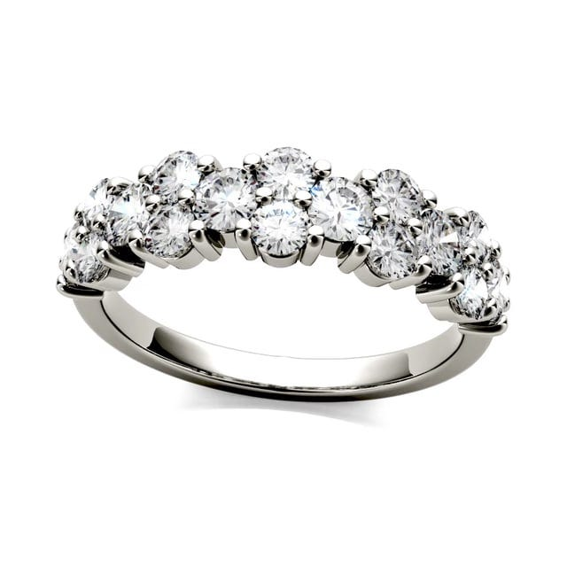 Forever One Round Moissanite Shared Prong Anniversary Band