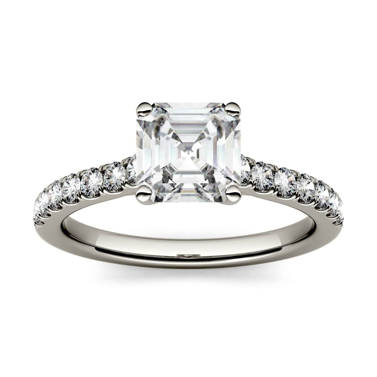 Forever One Asscher Colorless Moissanite Solitaire with Side Accents Engagement Ring