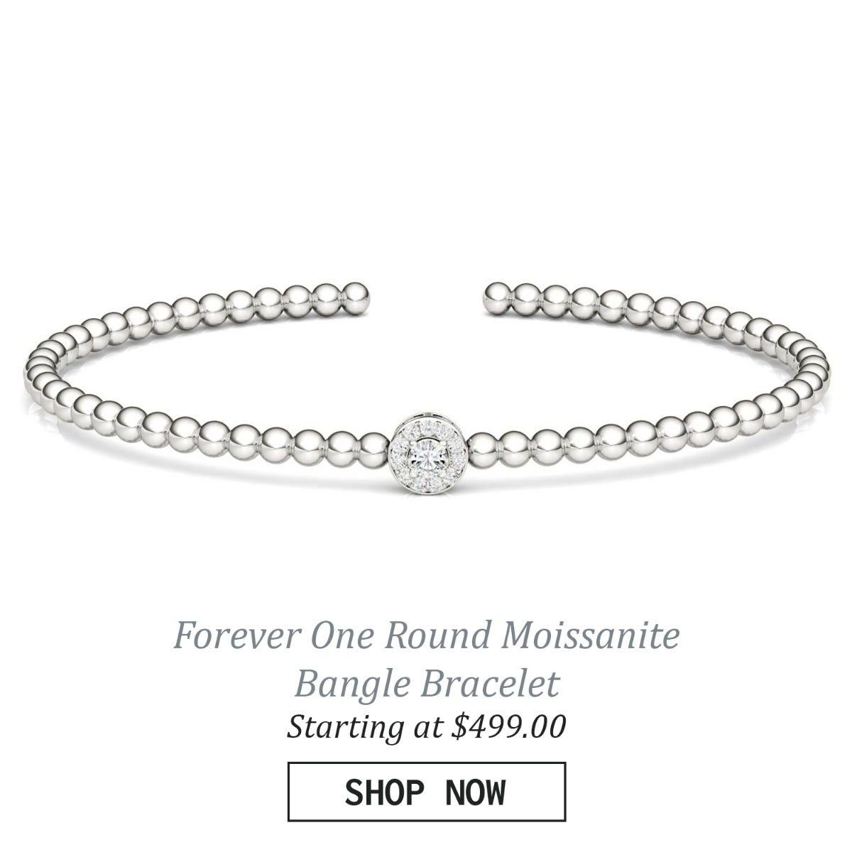 Forever One Round Moissanite Bangle Bracelet