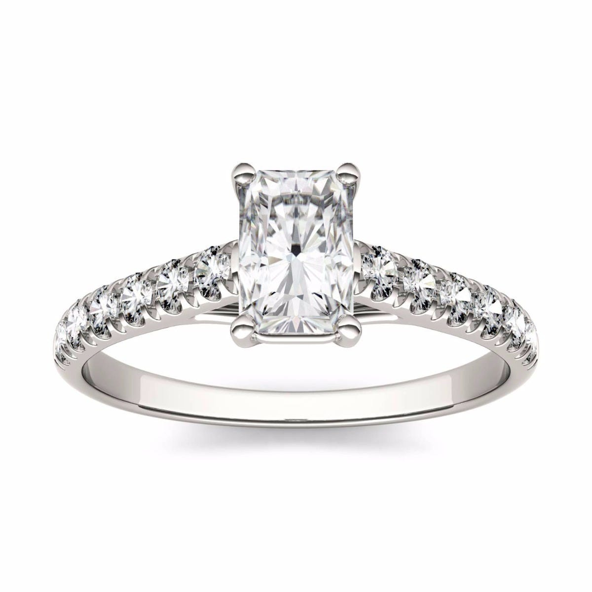Forever One Radiant Moissanite Solitaire with Side Accents Engagement Ring