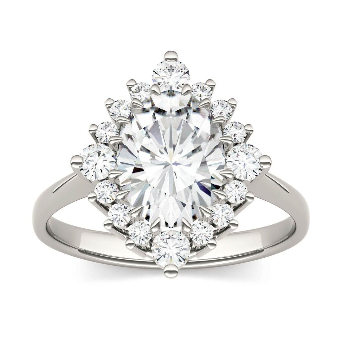 Forever One Oval Colorless Moissanite Halo Ring