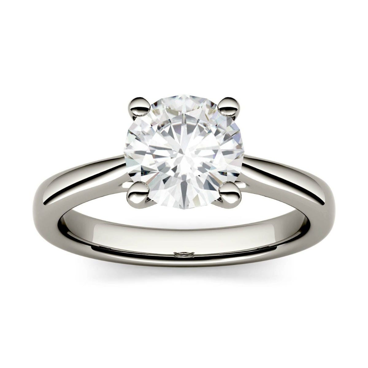 Forever One Round Colorless Moissanite Four Prong Solitaire Engagement Ring