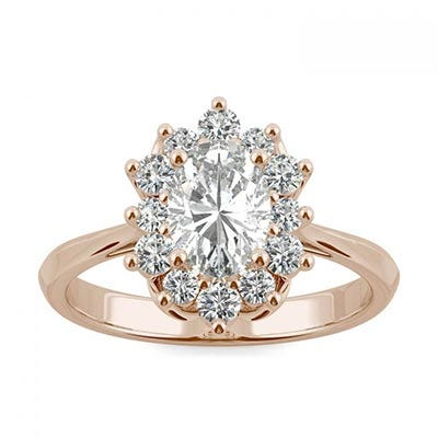 Signature Halo Oval Engagement Ring in 14K Rose Gold