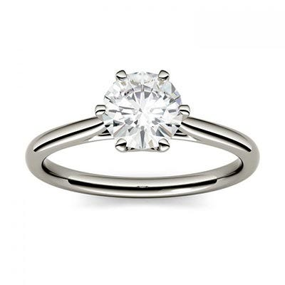 Forever One 1.00CTW Round Colorless Moissanite Six Prong Solitaire Engagement Ring in 14K White Gold