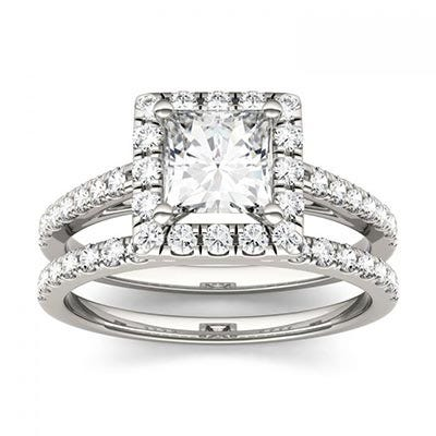 Forever One 1.72CTW Square Near-Colorless Moissanite Halo Bridal Set in 14K White Gold