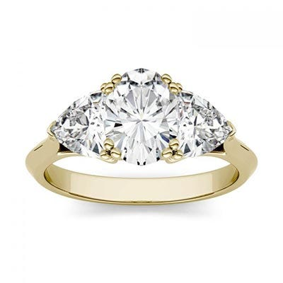 Forever One 2.90CTW Oval & Trillion Colorless Moissanite Three Stone Engagement Ring in 14K Yellow Gold