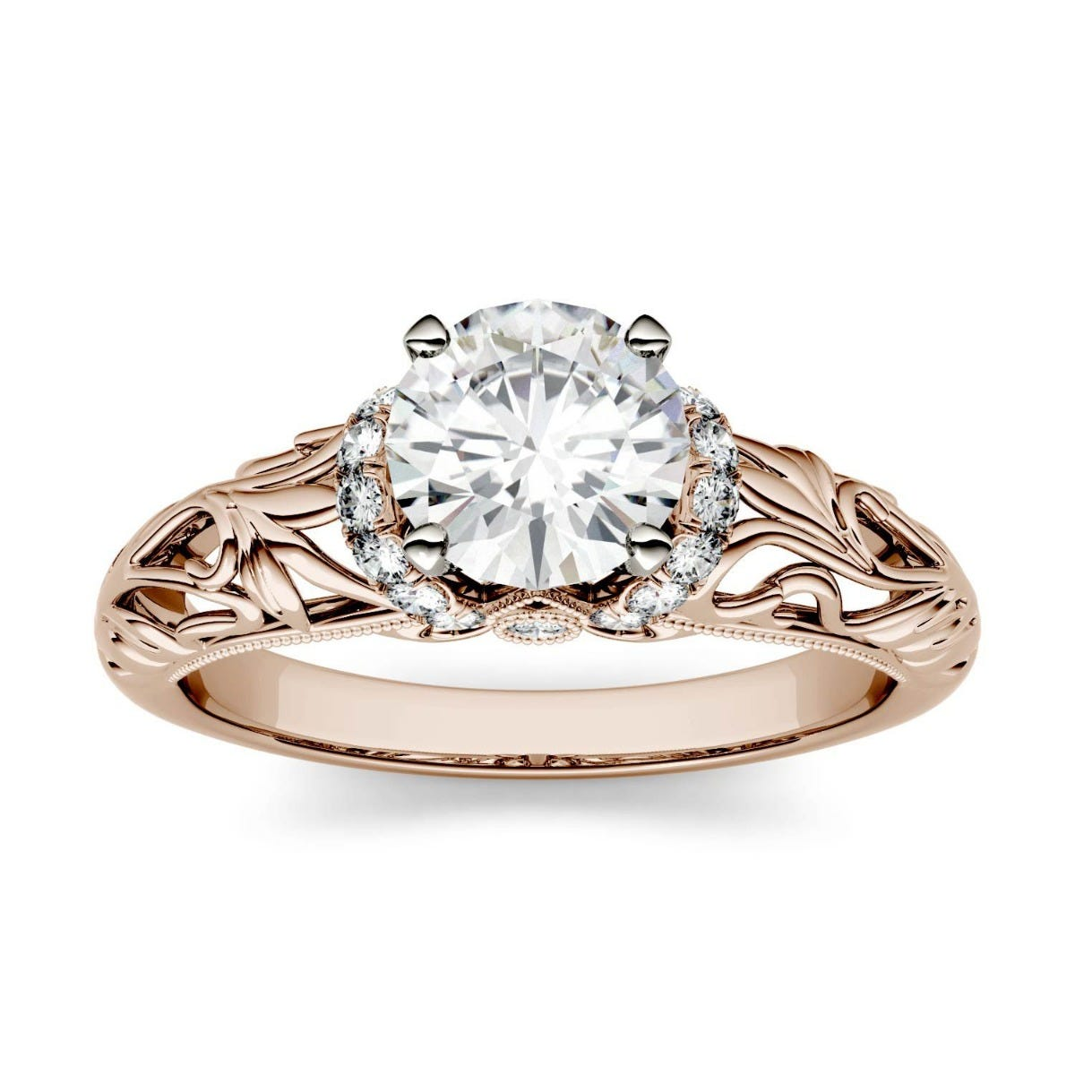 Forever One Round Colorless Moissanite Floral Band Solitaire with Side Accents Engagement Ring in 14K Rose Gold