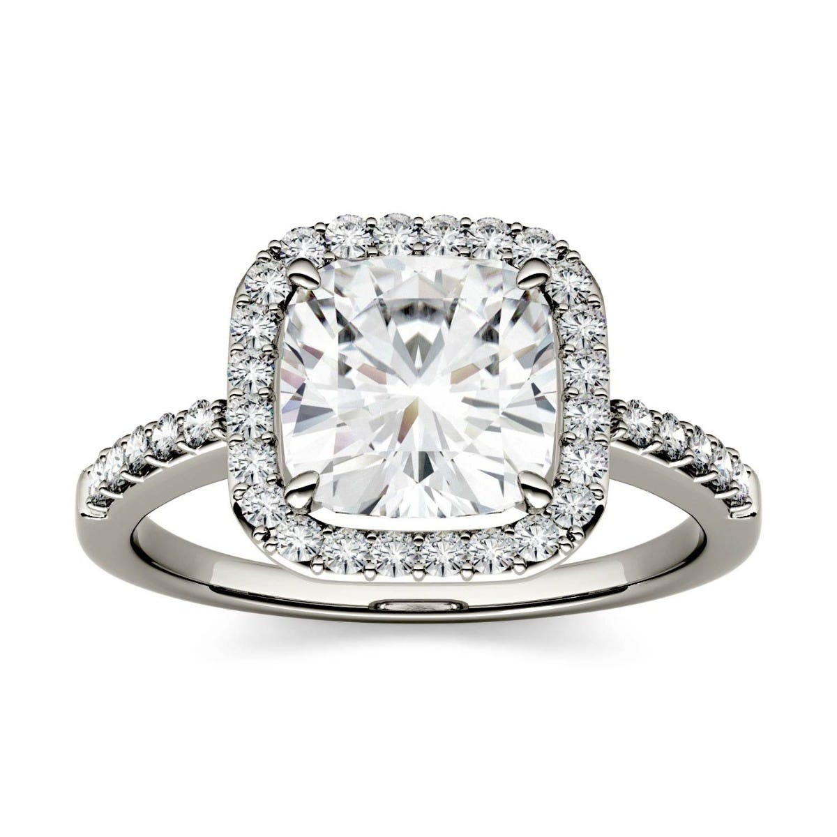 Forever One Cushion Colorless Moissanite Halo with Side Accents Engagement Ring in 14K White Gold