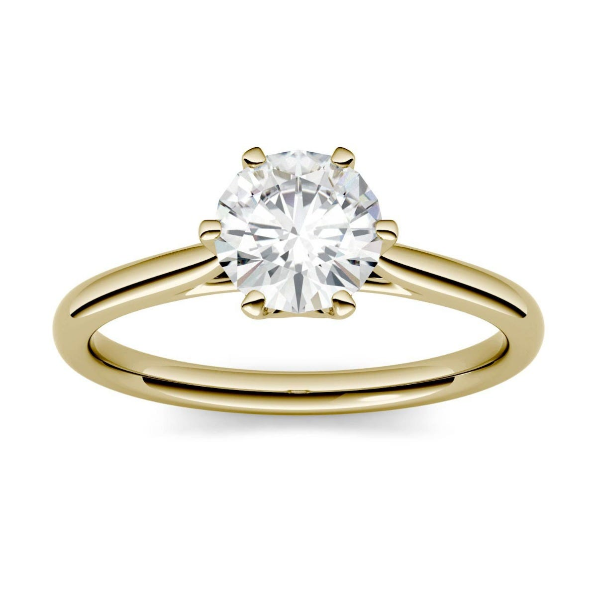 Forever One Round Colorless Moissanite Six Prong Solitaire Engagement Ring in 14K Yellow Gold